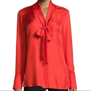 Rag & Bone Florence Silk Tie-Neck Blouse